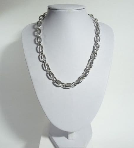 925 Sterling Silver Hand Crafted Necklace With Solid Oblong Links.